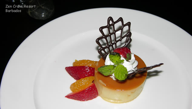 Flan Desert at Zen Restaurant on Barbados