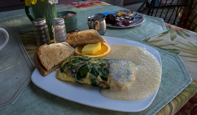 Omelette and grits Breakfast at Bright Morning on Amelia Island.